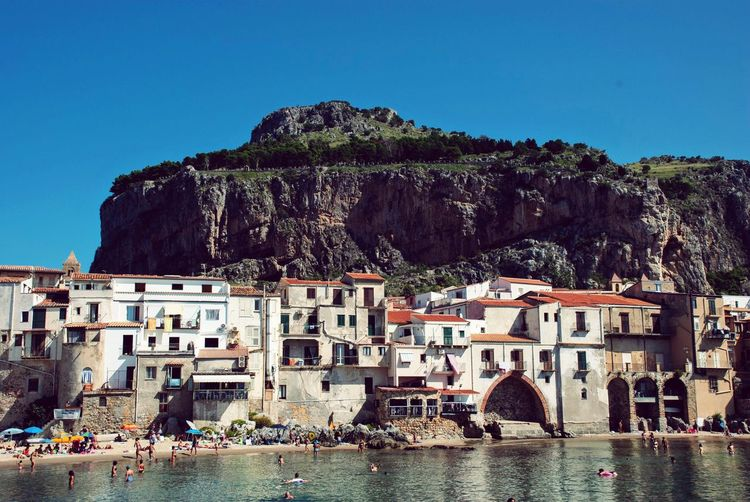 Beach Cityscape Town Mountain Italian Italy Sicilia Sicily Cefalu  Architecture Built Structure Sky Water Building Nature Travel Destinations Waterfront Sea Travel Day