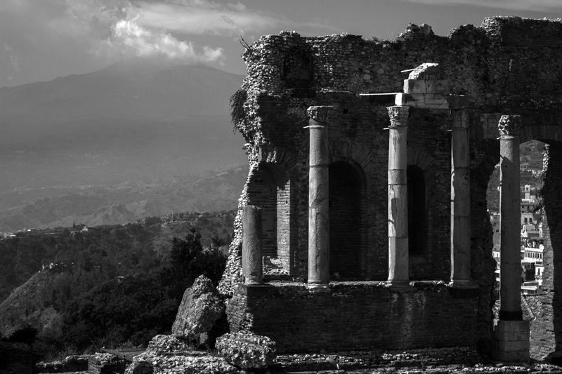 Old ruins of temple against sky