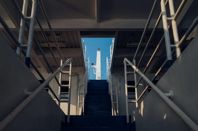 interior of a ferry boat in Thailand Architecture Built Structure Staircase Building Exterior No People Steps And Staircases Railing Low Angle View Building The Way Forward Day Nature Direction Outdoors Sky Metal Bridge Transportation Modern Directly Below Ladder Ceiling Interior Ferry Boat