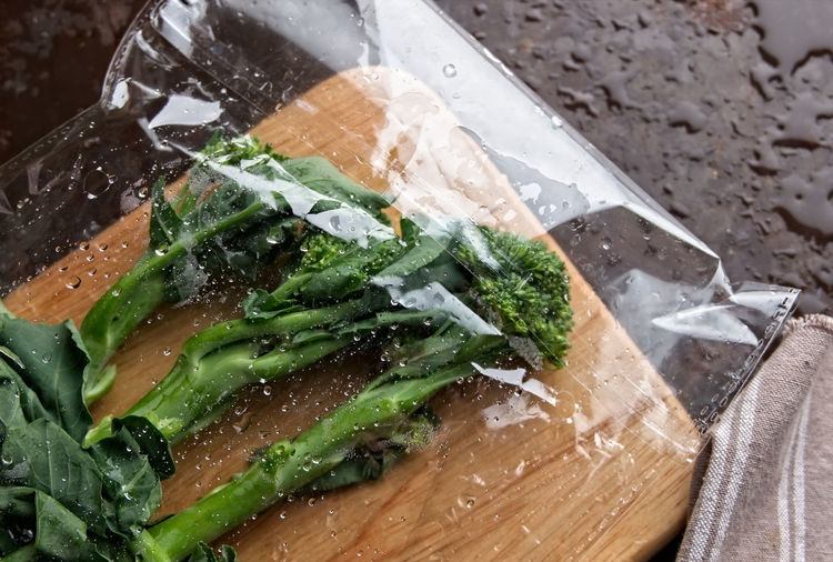 Baby Broccoli Bread Close-up Food Food And Drink Fresh Freshness Green Green Color Healthy Eating High Angle View Indoors  Knife Meal No People Ready-to-eat Retail  Still Life Table Tray Vegetable Wellbeing