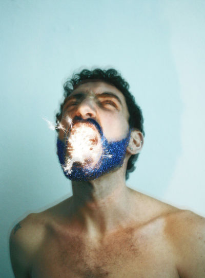 One Person Portrait Close-up Studio Shot Human Body Part Front View Headshot Glitter Glittering Light Blue Fireworks EyeEmNewHere