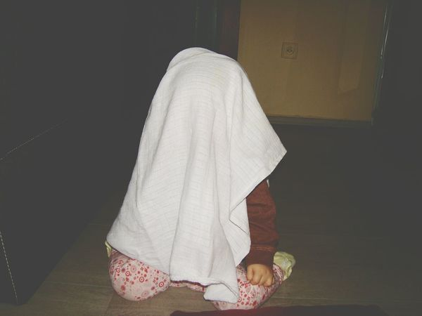 Where Are You? Making Fun Funny Moments Scared Funny Baby Scared Me Scary Scary Stuff  Little Monster Where Are The Children? Little Girl Children Photography Children Playing Ghost Toddlerlife Toddlerstyle Babystyle  White Color WhiteCollection Poncho Booboo Monster Costume Halloween Halloween Costume