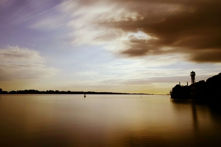 Reflection Sunset Tranquility Lake Nature Water Cloud - Sky Dramatic Sky Silhouette Scenics Beauty In Nature Outdoors Dusk No People Sky Tranquil Scene Landscape Travel Destinations Day Tree Elbe Elbe River Lighthouse City
