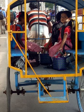 Street Photography kids going to school on cycle rickshaw looking awesome Taking Photos Alandur Chennai