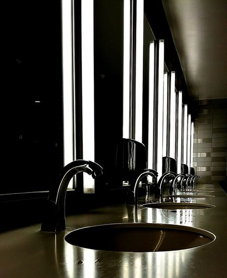 Counter Sinks Black And White Photography Public Bathroom Chrome Perspective Lines And Shapes Clean Domestic Room Faucet Home Interior Stainless Steel  Architecture