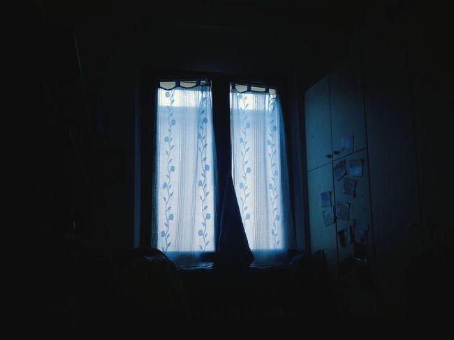 Room Window Dark Blue Curtains Darkness IDK Light