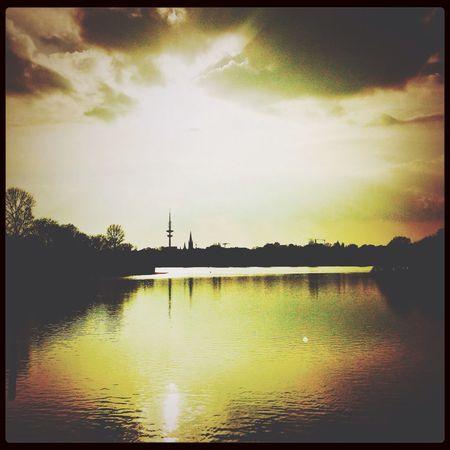 Sun in the city of Hamburg