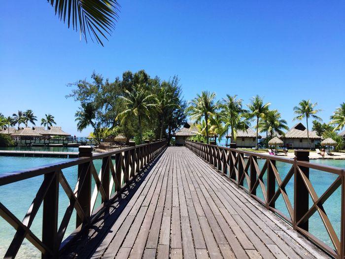 Boardwalk in sea against clear sky