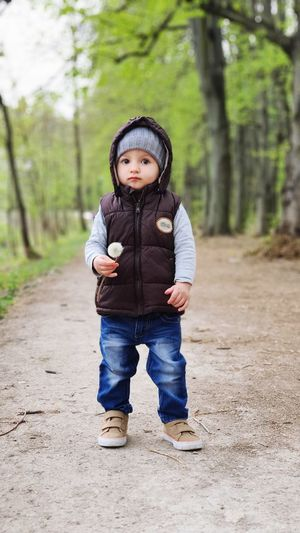 Full length portrait of cute boy standing on land