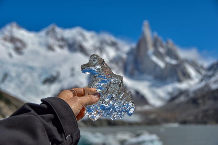 Melting glacier ice from cerro torre glacier, symbol for climate change, patagonia, argentina