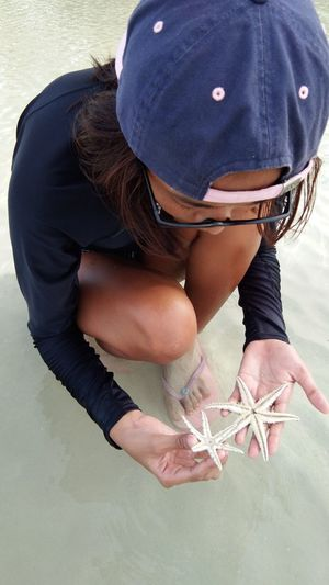 High angle view of woman holding starfishes at beach