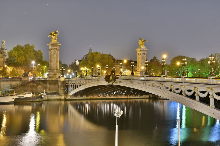 Bridges Paris Paris, France  Pont Alexander III Pont Alexandre III Seine Seine River Architecture Bridge Bridge - Man Made Structure Bridgeporn Building Exterior Built Structure City Illuminated Nature Night No People Outdoors Sky Travel Destinations Tree Water Waterfront