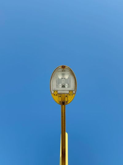 beautiful lamp Yellow Lamp Yellow Lamp Backgrounds EyeEm Best Shots EyeEm EyeEmBestPics Blue Clear Sky Sky No People Nature Low Angle View Lighting Equipment Circle Metal Single Object Geometric Shape Blue Background Sunny Sunlight Outdoors Day My Best Photo