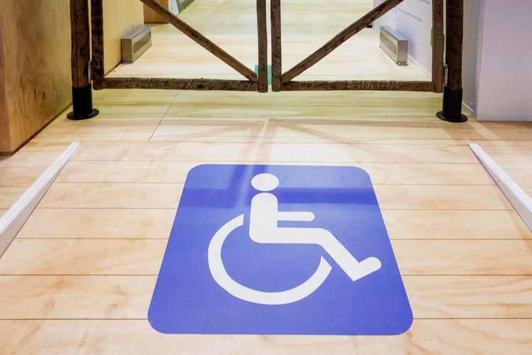 Information sign on tiled floor