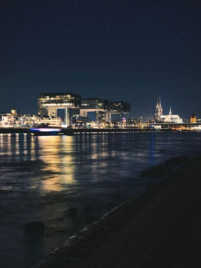 Night Building Exterior Architecture Water Illuminated Built Structure City Sky No People Building Reflection Outdoors Cityscape Waterfront Citylights Cologne Germany River