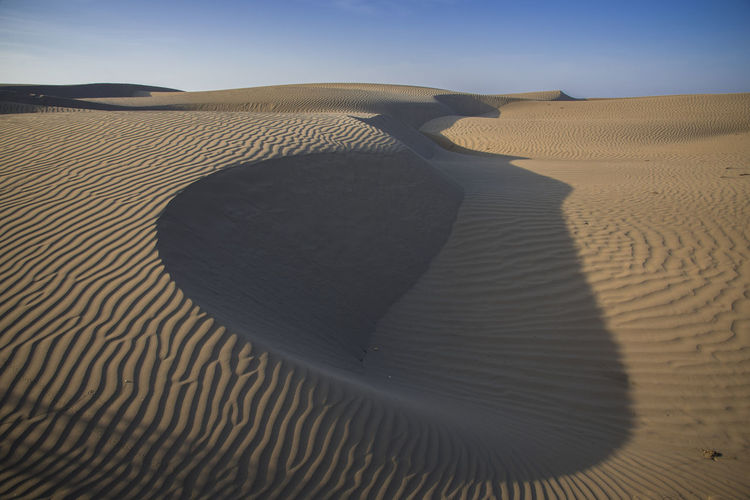Shadow of sand dune in desert