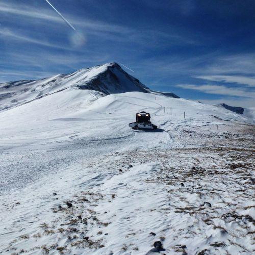 Snow Mountain Groomer Rocky Mountains Rocks Sun