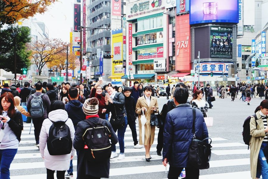 shibuya EyeEm Selects City Crowd Men Women Pedestrian City Life Warm Clothing Walking Street City Street