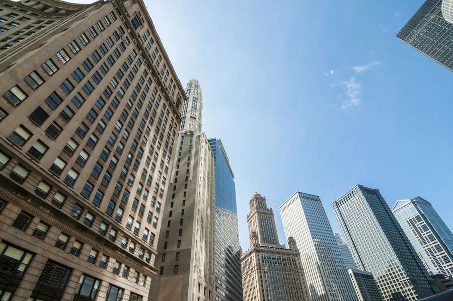 Chicago Chicago City Architecture Building Exterior Built Structure City City Life Cityscape Day Downtown District Low Angle View Modern No People Outdoors Sky Skyscraper Tower Travel Destinations Urban Skyline