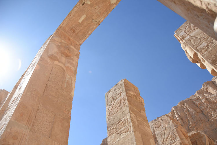Low angle view from the temple of hatshepsut against blue sky