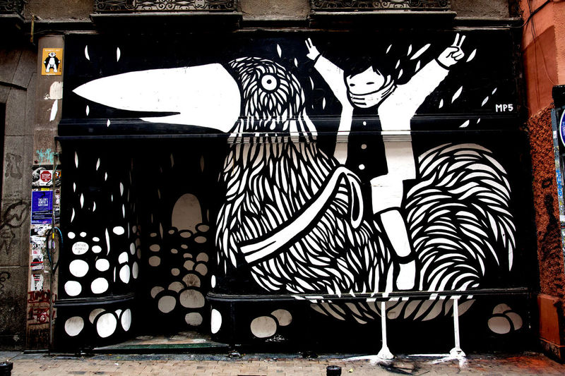 Artwork on Madrid building, Madrid, Spain. Animal Themes Art Artwork Building Exterior City Day Design Fun Graffiti Madrid Spain No People Paint Shop Urban