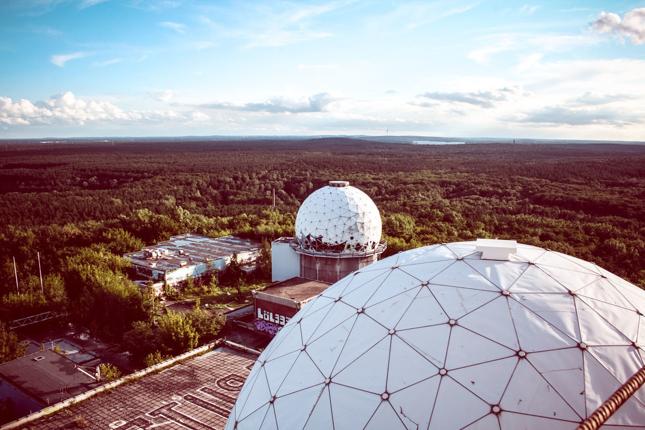 dome, built structure, building exterior, architecture, sky, cloud - sky, high angle view, day, no people, nature, landscape, travel destinations, beauty in nature, outdoors, scenics, radar, cityscape, planet earth