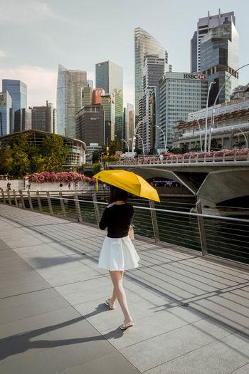 Full length of woman on city against sky