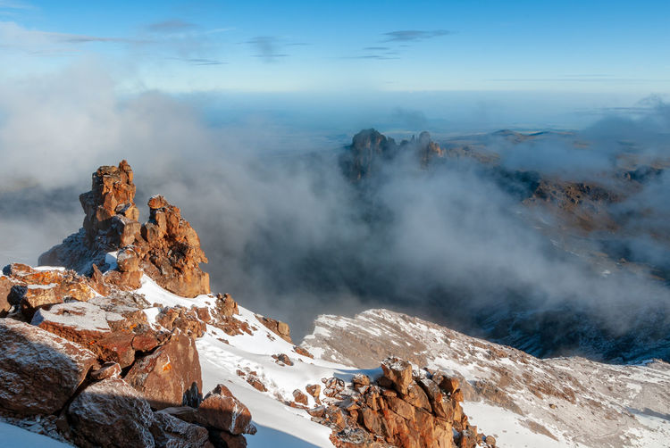 Mount kenya national  park from mountain summit