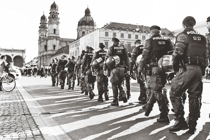 Light And Shadow Police In Munich during a demonstration taken with a Nikkormat EL