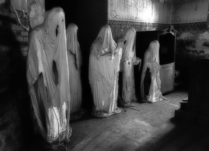 5 ghosts Family Ghosts Poltergeist Five Frightening Indoors  Scary Statues White