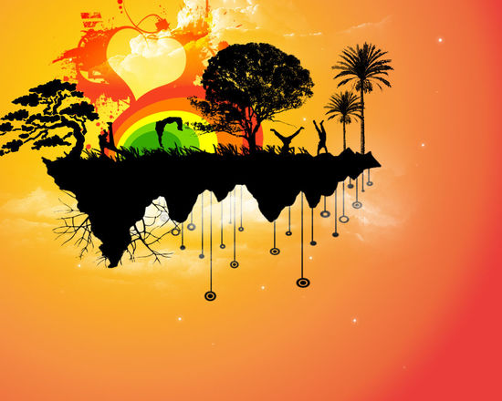 Abstract Colorful Flying Islands Happiness Island Rainbow