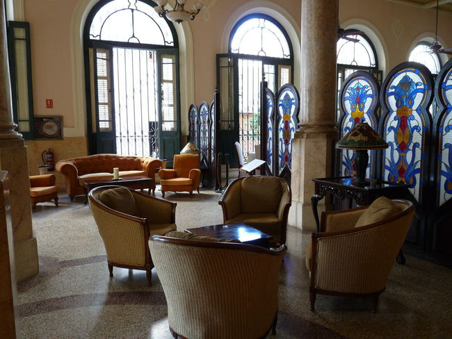 Lobby Lobby Hotel Lobby Lounge Chairs Travel Stained Glass