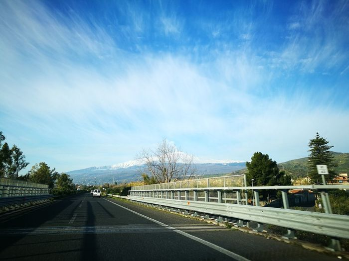 Etna Road Highway The Way Forward Mountain Tree Cloud - Sky Car