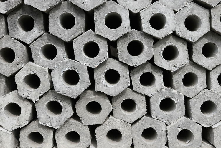 Concrete Pipes Backgrounds Circle Close-up Concrete Large Group Of Objects Metal Pattern Stack Textured