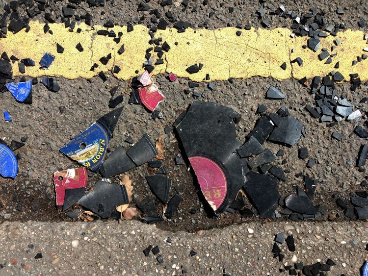 Broken records with yellow line Day Sunlight Large Group Of Objects Records Broken Music Lost Sad Day Bakelite Ruined Smashed Street Photography The Street Photographer - 2017 EyeEm Awards Paint The Town Yellow