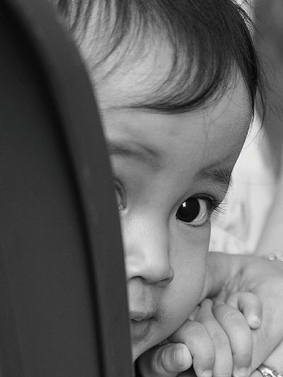 Hiding Childhood Child Human Face Cute Children Only Human Body Part One Person Innocence Close-up Headshot One Girl Only Indoors  People Portrait Human Eye Day