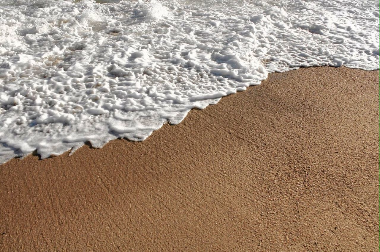 sand, wave, beach, surf, nature, sea, brown, no people, day, textured, water, outdoors, salt - mineral, beauty in nature, close-up
