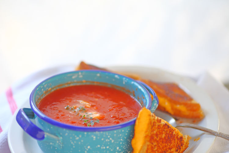 Grilled cheese and tomato soup with room for text American Food Close-up Colorful Comfort Food Copy Space Day Dish Towel Fresh Herbs  Freshness Home Cooking Home Food Indoors  Light Supper Lunch Natural Light No People Oregano Leaves Ready-to-eat Red Snack Soup Bowl Studio Shot Textures Tomato Soup And Grilled Cheese