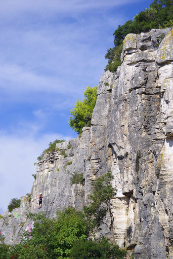 Low angle view of rock formations on mountain