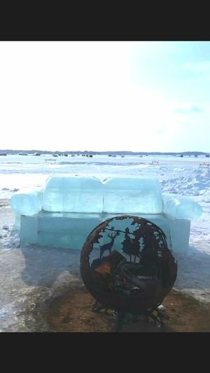 Have a seat❄.. Ice block couch❄& fire pit .. pic taken Detroit Lakes mn at the ice festival ❄🌬❄ Ice Frozen Nature Ice Blocks Water Horizon Over Water Beach No People Sky Day Nature Beauty In Nature Outdoors Scenics