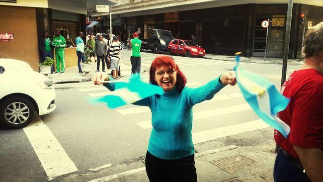 Earlier today. An italian fan waving flags downtown Săo Paulo. We Are Onefootball BrazilWorldCup2014 Copadomundo Fifa 2014