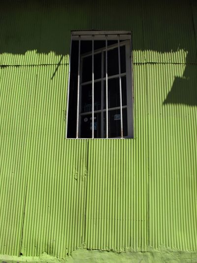 VERDE ESPERANZA [E] Leonardo Kubrick Bars Barras Fence Ventana Window Texture Textura Lata Tinplate House Casa Verde Green Green Color Architecture Window Built Structure No People Building Exterior Building Day Pattern Grid Grate Wall - Building Feature Sunlight Metal Grate Shadow Closed House