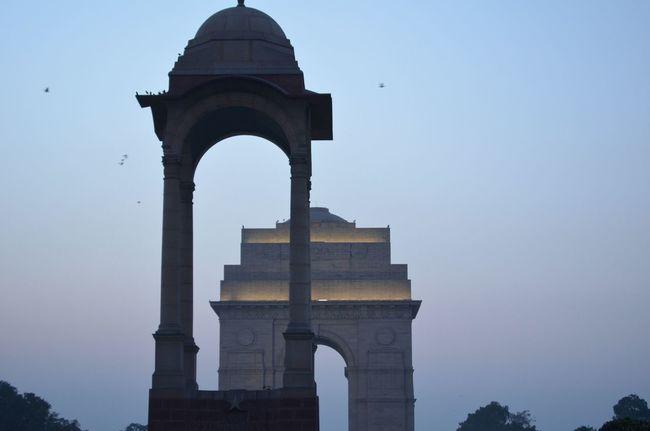 India Indiagate Newdelhi Historical Architecture Evening Sunset Delhi Capital City.