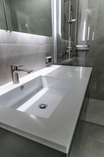High angle view of illuminated bathroom at home