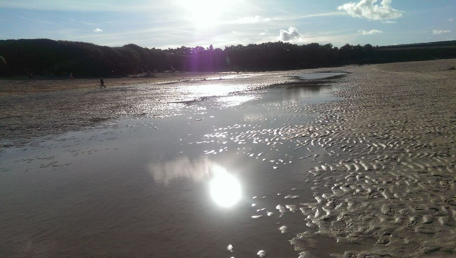 The Essence Of Summer Summertime Summer Summer Vibes Blue Sky Blue Sand Sand Colour Sand Color Water Sea Water Sea Water Pool Sun Sun Reflection On Water Sun Reflection Cornwall Harlyn Bay Trees Darkness And Light Clouds And Sky Clouds People Beachphotography Beach