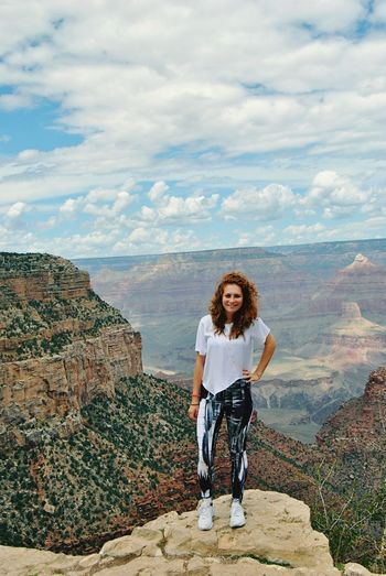 Hiking at the Grand Canyon, AZ EyeEm Selects Cloud - Sky Sky Full Length Front View Standing One Person Leisure Activity Looking At Camera Mountain Smiling Outdoors Lifestyles