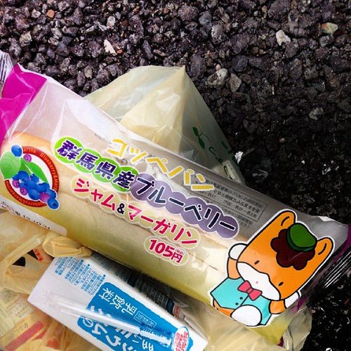 I bought a Gunma-chan Bread for lunch :) Gunmachan Saveon