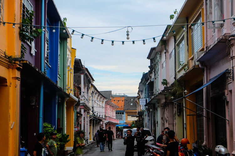 Phuket Old town is Colorful Architec City Sky Travel Destinations Architecture Outdoors People Day King - Royal Person Adult Architecture Phuket Houses Chino-Protugese Vacations Point Of View History Architecture_collection Thailand🇹🇭 Cityscape