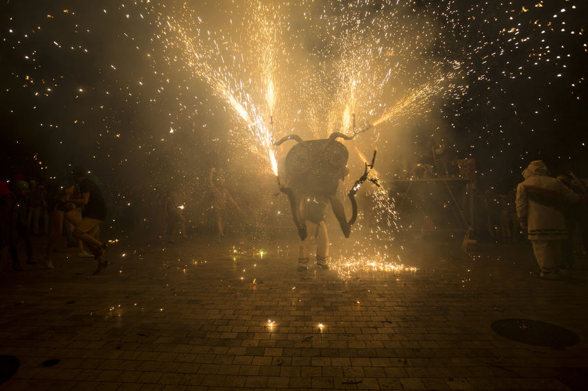 Besties a les festes de Sant Roc 2016 Besties Catalonia Catalunya Celebration Culture Entertainment Exploding Fire Firerun Firework Firework - Man Made Object Fireworks Illuminated Motion Night Outdoors Party Sant Roc Street Traditional
