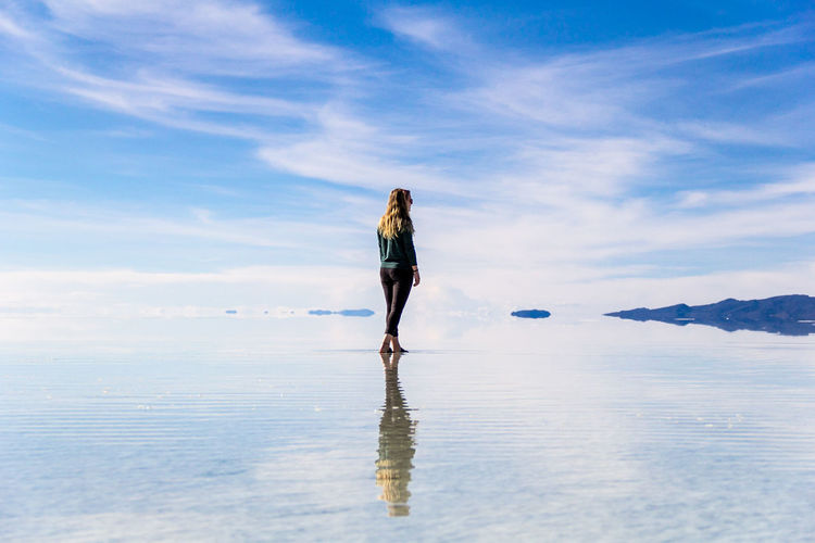 Uyuni Uyuni Salt Flat Beauty In Nature Bluesky Cloud - Sky One Person Outdoors Rear View Reflection Sky Travel Destinations Water Women